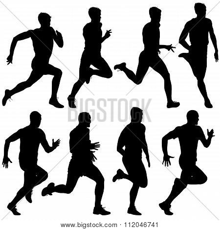 Set Of Silhouettes Runners On Sprint Men