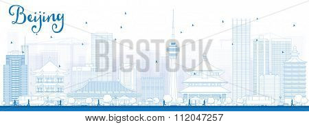 Outline Beijing Skyline with Blue Buildings. Vector Illustration. Business travel and tourism concept with historic buildings. Image for presentation, banner, placard and web site.
