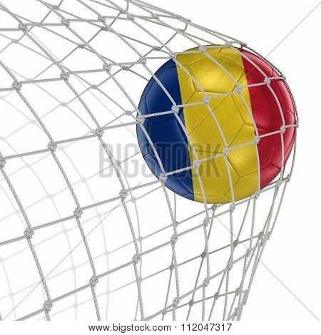Romanian soccerball in net. Image with clipping path