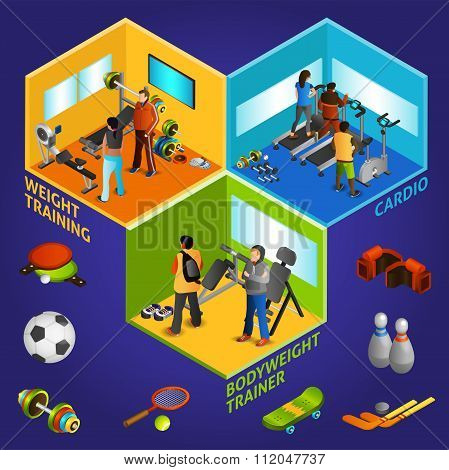 Sports Equipment Athletes Isometric 2x2