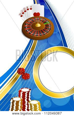 Background abstract blue gold casino roulette cards chips craps vertical frame illustration vector