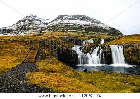 Waterfall Near Kirkjufell, Natural Landmark Of Iceland