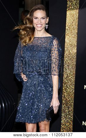 HOLLYWOOD, CALIFORNIA - December 5, 2011. Hilary Swank at the Los Angeles premiere of