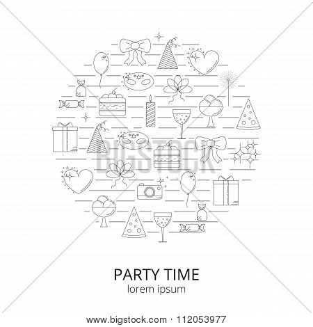 Party and celebration linear icons composed in circle shape.