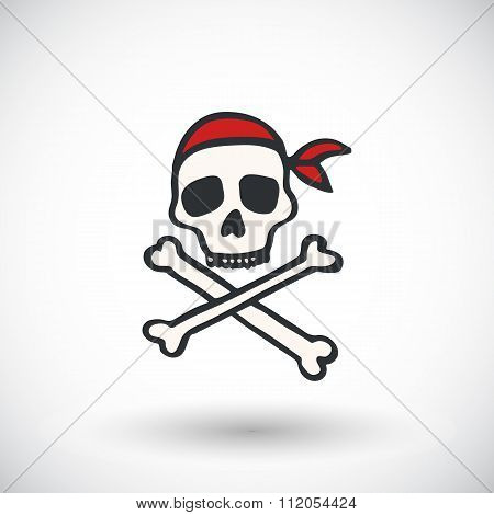 Skull and bones - Jolly roger sketch. Hand-drawn cartoon pirate icon. Doodle drawing.