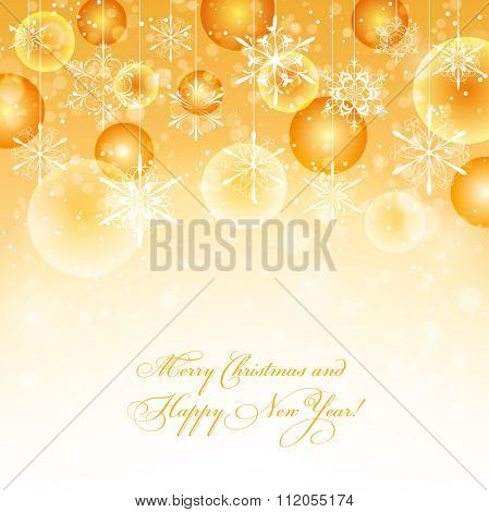 Winter background with snowflakes and baubles fading into white, vector illustration