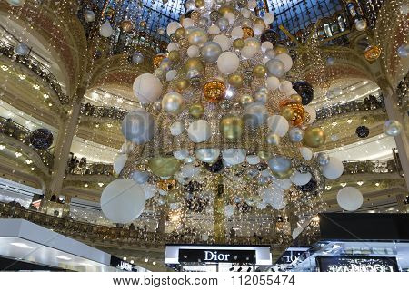 The Christmas Decoration Of Shopping Center Galeries Lafayette.