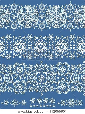 Snowflakes lace seamless border.Winter pattern