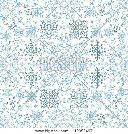 Snowflakes lace seamless pattern.New year,Christmas,Winter