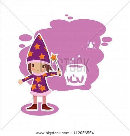 Flat Halloween Witch