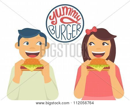Happy boy and girl are eating a big hamburgers