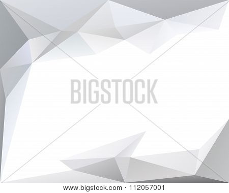 White Polygonal Triangle Vector Background With Copy Space, Light And Pale Color Texture, In Vector