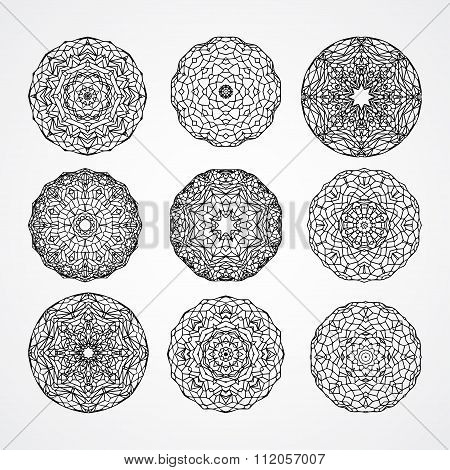 Set Of Church Gothic Circle Ornament Roses In Vector, Isolated Black On White