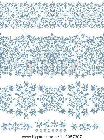 Snowflakes seamless border lace.Winter pattern