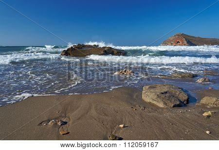 breakwater on beach and Theodore island