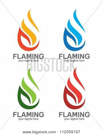 Abstract Flame Logo Design. Creative Fire Logotype. Vector Business Icon.