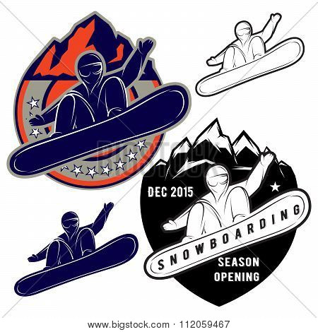 Set Badges For Extreme Sports Snowboarding