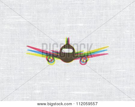 Tourism concept: Aircraft on fabric texture background