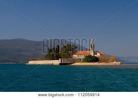 Island Gospa Od Milosti In Tivat Bay Montenegro