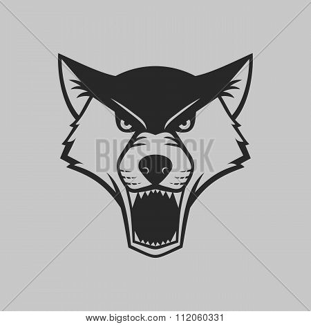 Wolf head logo or icon in one color.