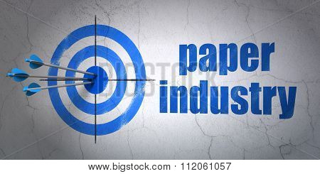 Industry concept: target and Paper Industry on wall background