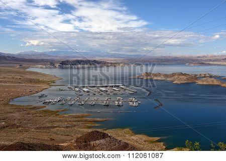 Houseboats And Tourist Boats On Lake Powell, Colorado River, Usa