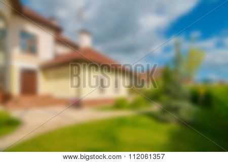 Luxury house exterior theme blur background