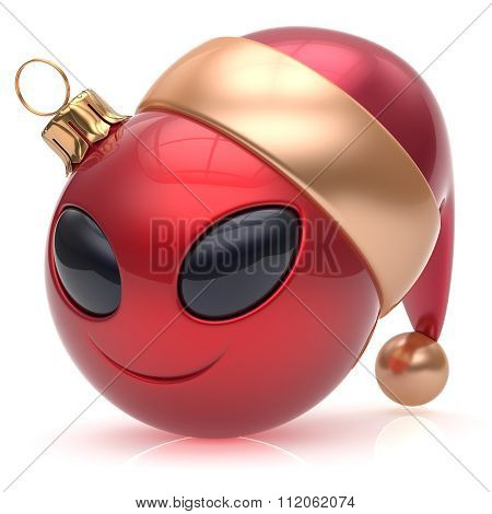 Christmas Ball Alien Face New Years Eve Bauble Smiley Emoticon