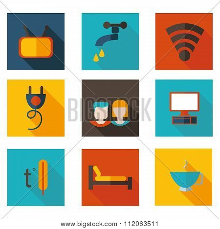 Flat Icons Theme Hostel In Vector Format.