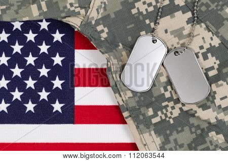 Close Up Of Military Uniform On Usa Flag