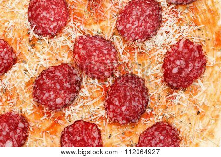 Homemade Pizza With Salami, Parmesan Cheese,  Background Closeup