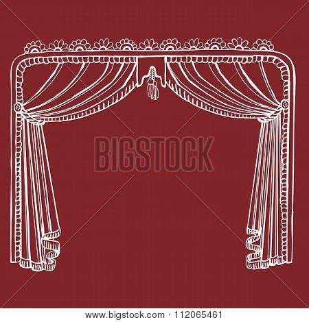 Hand Drawn Theater Stage Curtain - Get Your Performance On!