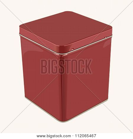 3D Vector Red Square or Rectangular Stainless Steel Popcorn Tin Box