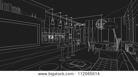 Interior line drawing.