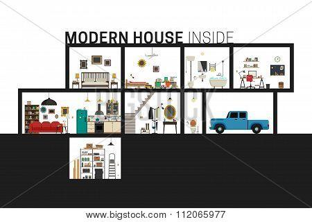 Modern house in cut.