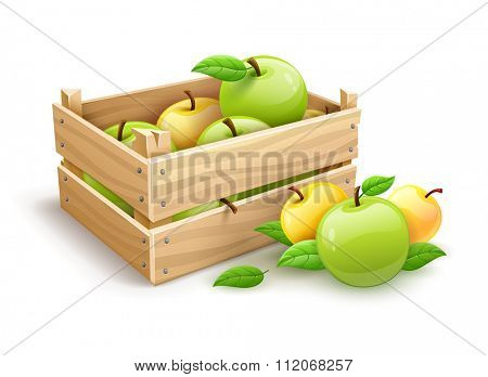 Ripe apple fruits garden harvest in wooden box. vector illustration. Isolated on white background. Transparent objects used for lights and shadows drawing.