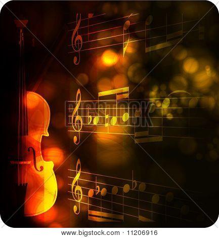 silueta de violín vintage con nota