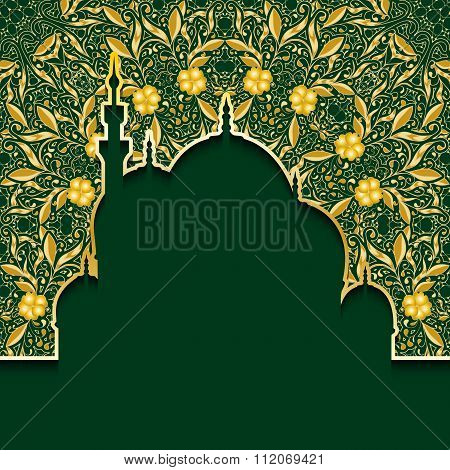 Greeting background to Muslim holiday of Ramadan.  Green background with gold pattern. The inscripti