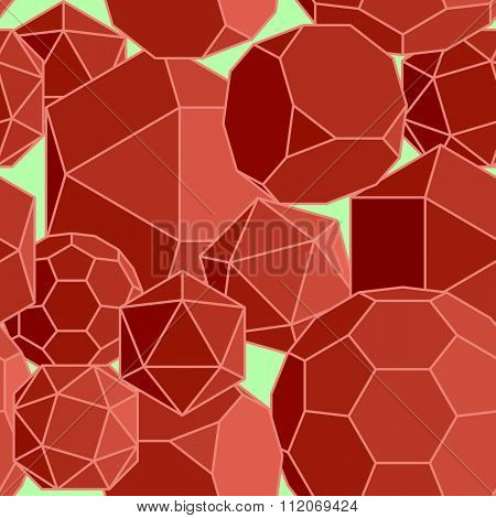 Abstract seamless background of red volume geometric shapes.