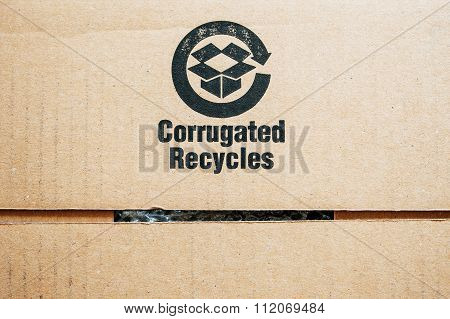 Recycle Sign Isolated On Cardboard