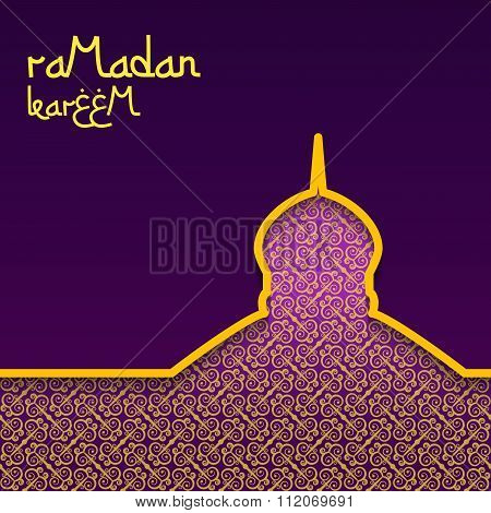 Template design concept background for ramadan kareem celebration. Purple background with gold patte