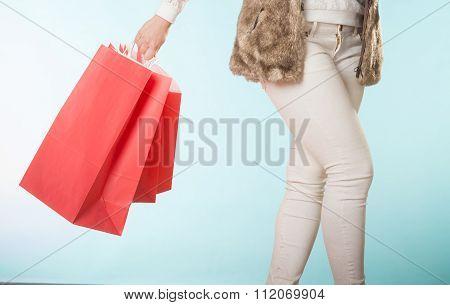 Closeup Of Customer Bags Shopping. Winter Fashion.