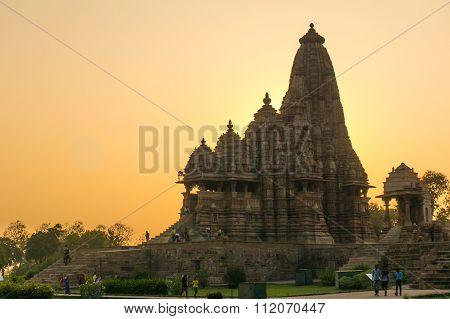 Temples at Khajurao, India at sunset