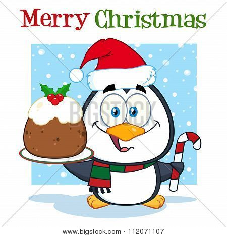 Christmas Pudding And Candy Cane On The Snow