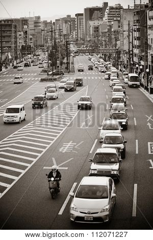 KYOTO, JAPAN - MAY 18: Traffic jam on road on May 18, 2013 in Kyoto. Former imperial capital of Japan for more than one thousand years, it has the name of City of Ten Thousand Shrines.