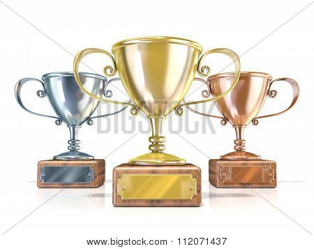 Gold silver and bronze winners trophy cups. 3D render