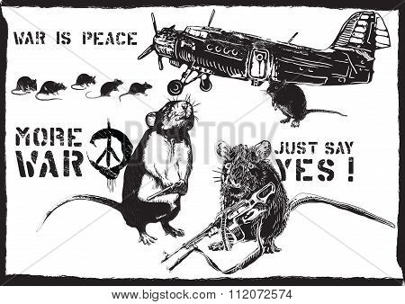 More War, Rats - Hand Drawn Vector
