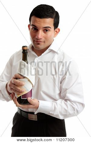 Waiter Or Servant Holding Bottle Of Wine