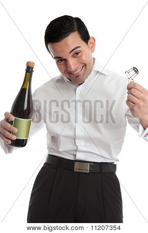 Happy Man With Bottle Of Champagne
