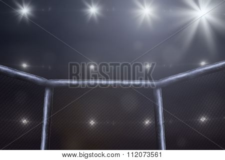 fighting stage side view under lights